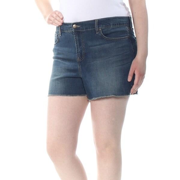 NYDJ Womens Navy Frayed Short Size: 16
