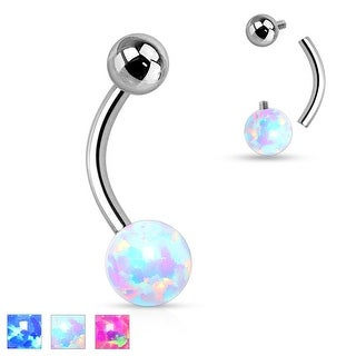 Internally Threaded Opal Ball Surgical Steel Belly Button Navel Ring - 14GA (Sold Ind.)