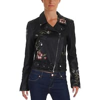 Aqua Womens Motorcycle Jacket Fall Faux Leather