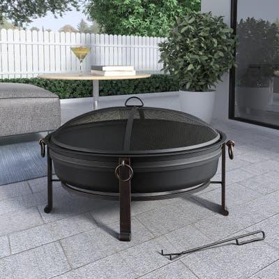 """30"""" Cauldron Round Steel Fire Pit"""