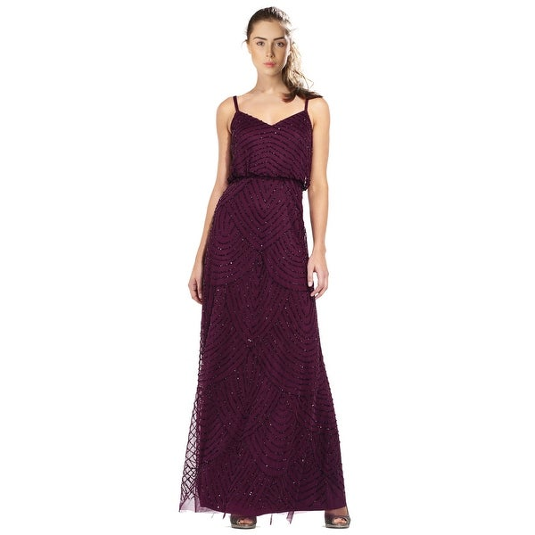 Shop Adrianna Papell Art Deco Beaded Blouson Evening Gown Dress - 6 ...