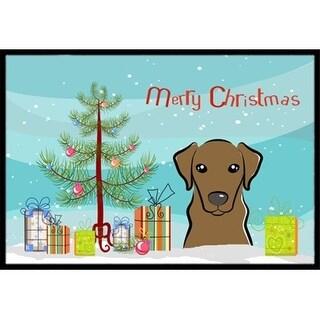 Carolines Treasures BB1606MAT Christmas Tree & Chocolate Labrador Indoor or Outdoor Mat 18 x 27