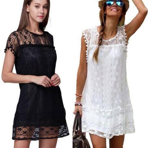 Casual Sleeveless Beach Short Dress Tassel White Mini Lace Party Dress