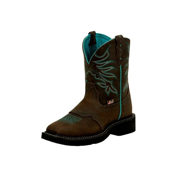 "Justin Western Boots Womens Mandra 8"" Shaft Stitched Leather"