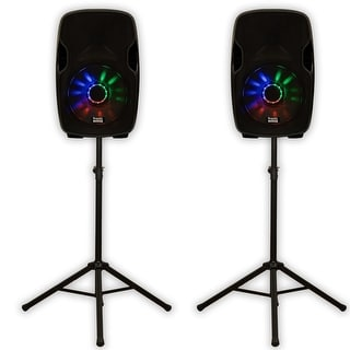 "Acoustic Audio AA15LUB Powered 2000W 15"" Bluetooth Speaker Pair with LED Flashing Lights and Stands"