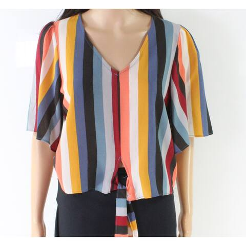 Moa Moa Yellow Women's Size Small S Striped V-Neck Tie Front Blouse