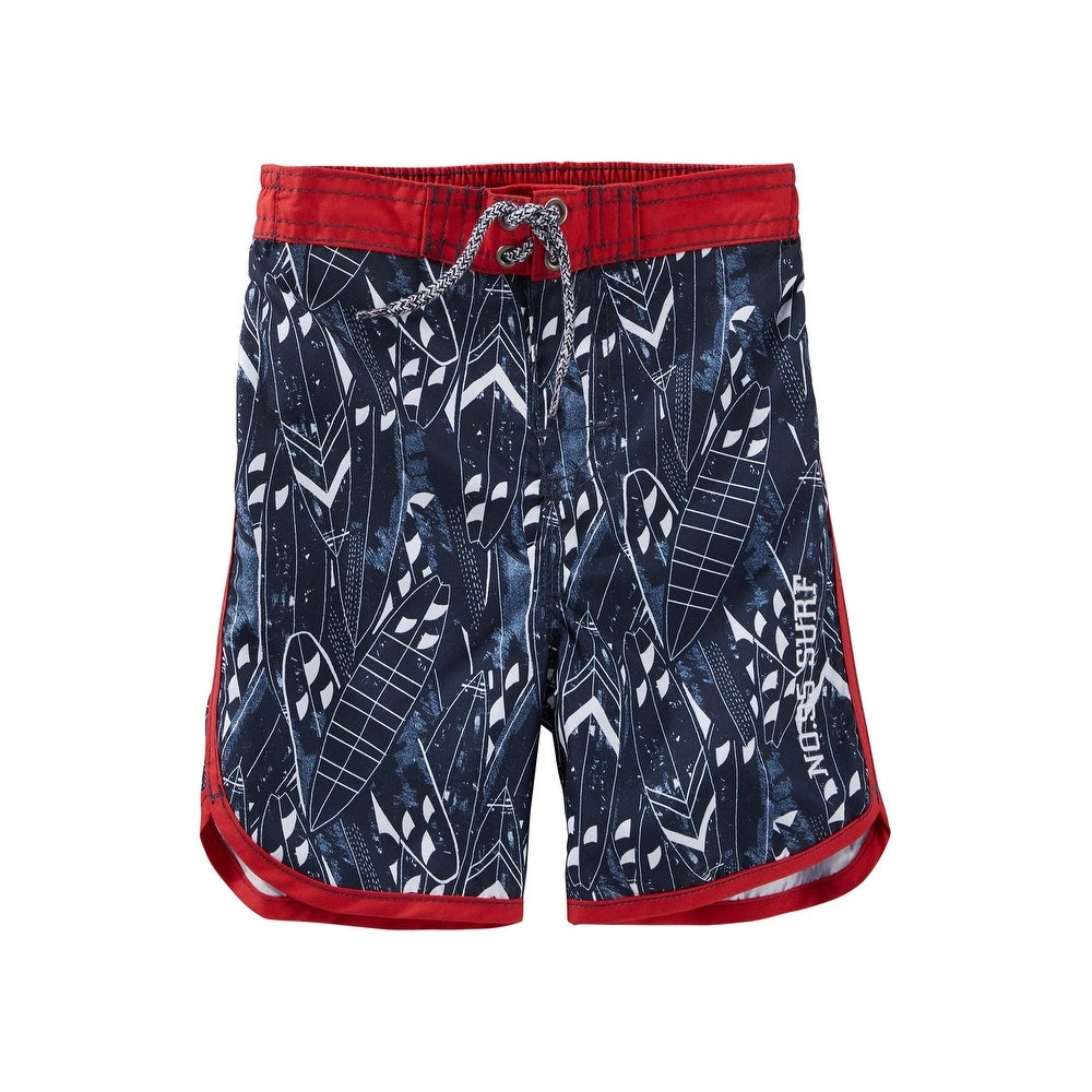 d6c7aeffc6 Shop OshKosh B'gosh Little Boys' Surf Print Swim Trunks - Navy - 3 Toddler  - Free Shipping On Orders Over $45 - Overstock - 26965926