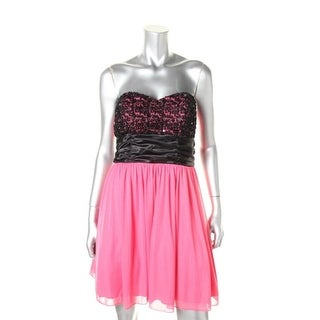 Speechless Womens Juniors Embroidered Strapless Cocktail Dress - 5