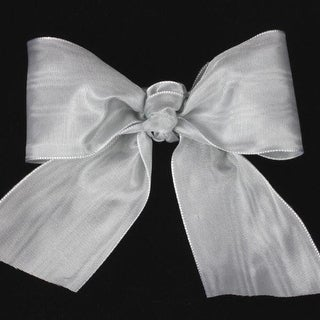 "Silver Grey Deco Moire Satin Craft Ribbon 3"" x 27 Yards"