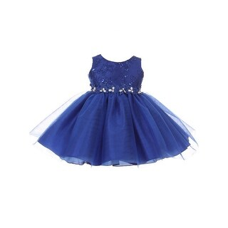 Baby Girls Royal Blue Lace Sequin Embroidered Tulle Flower Girl Dress 6-24M