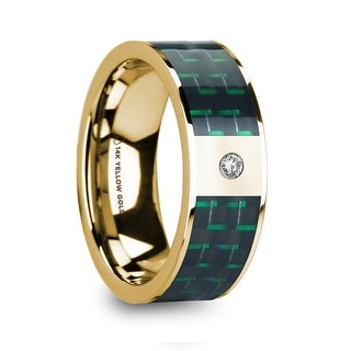 SAROS Black Green Carbon Fiber Inlaid Polished 14k Yellow Gold Men S Ring With Diamond 8mm