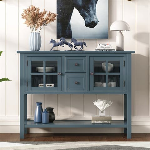 Merax Console Table with 2 Drawers, 2 Cabinets and 1 Shelf