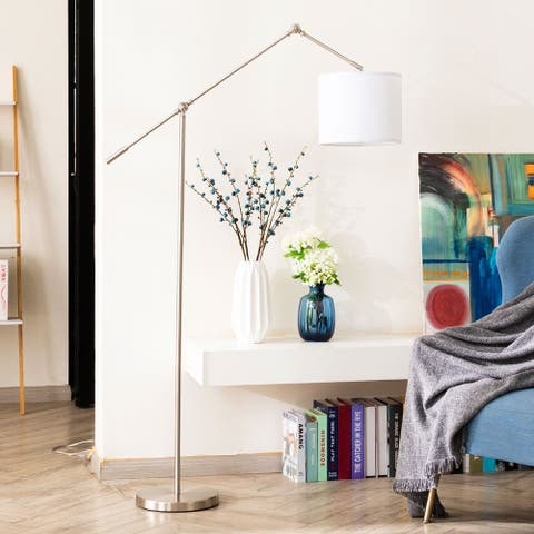 "64"" Contemporary Arc Floor Lamp Adjustable Drum Linen Shade Swing Arms-Brushed Nickel/Old Bronze"