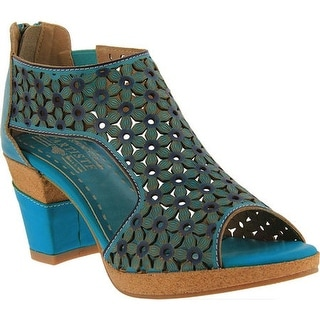L'Artiste by Spring Step Women's Hibiskus Open Toe Bootie Turquoise Leather