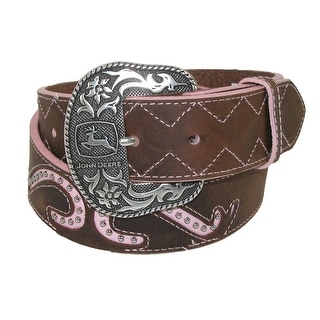 John Deere Women's Leather Pink Scroll Western Belt with Removable Buckle - Brown