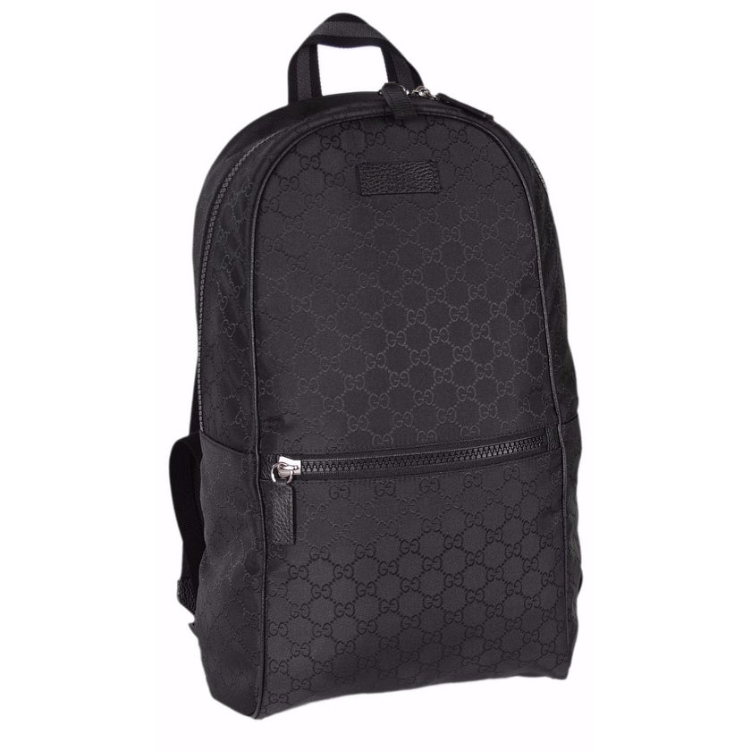 Gucci 449181 Black Nylon GG Guccissima Slim Backpack Rucksack Travel Bag