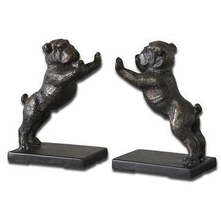 "Pack of 2 Distressed Golden Bronze & Dark Gray Cast Iron Bulldog Bookends 7"""