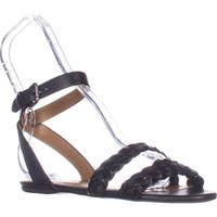 Coach Scarlett Flat Ankle Strap Sandals, Black
