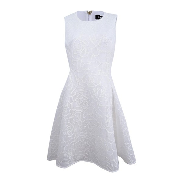 bd94546e78 Shop DKNY Women s Textured Mesh Fit   Flare Dress - White - 8 - On Sale -  Free Shipping Today - Overstock - 27145099