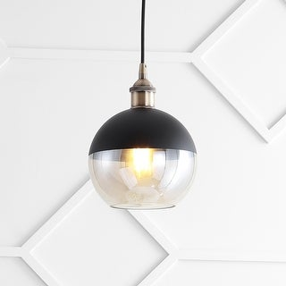 """Link to Nixon 7.5"""" Adjustable Drop Globe Metal/Glass LED Pendant, Brass Gold/Black by JONATHAN  Y Similar Items in Pendant Lights"""