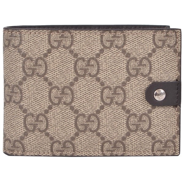 Gucci Men's 281968 Taupe Supreme Canvas GG Guccissima Mini Bifold Wallet