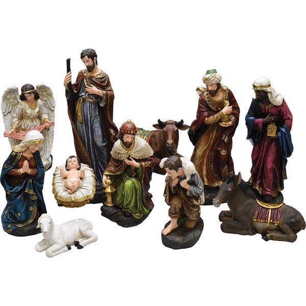 Holy Family Admires Jesus Nativity Religious Christmas: Shop 11-Piece Holy Family And Three Kings Inspirational