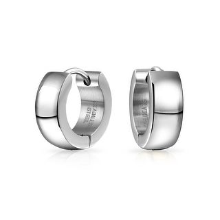 Bling Jewelry Plain Stainless Steel Hinged Hoop Mens Small Hoop Earrings