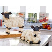 """Set of 2 Black and White Distressed Rustic Farm Sheep Tabletop Figures 14.75"""""""