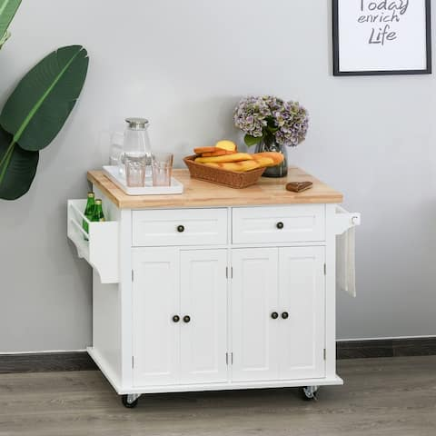 HOMCOM Rolling Kitchen Island Cart with Rubber Wood Top, Spice Rack, Towel Rack & Drawers for Dining Room