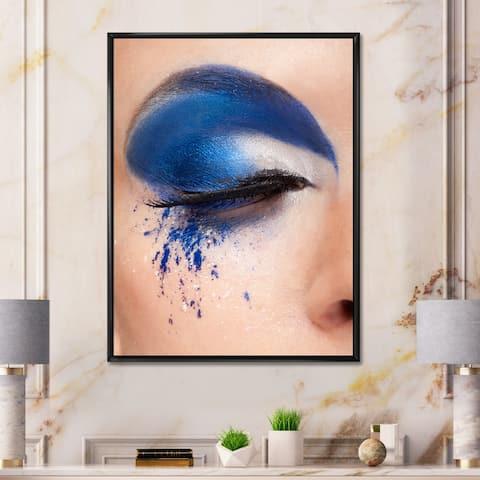 Designart 'Closed Eye With Blue Fantasy Make Up' Modern Framed Canvas Wall Art Print