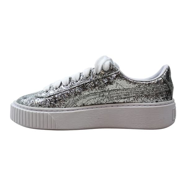 cheap for discount 3de92 ba291 Shop Puma Basket Platform Glitter Silver/Silver 364093 01 ...