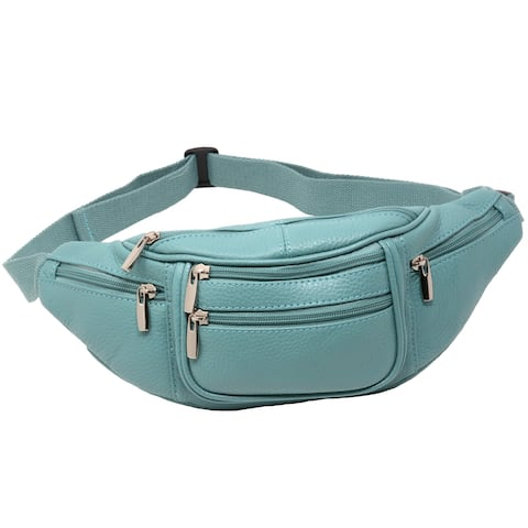 6 Pocket Genuine Solid (not patch) Leather Waist Pack, Fanny Pack. Large adjustable strap - One Size