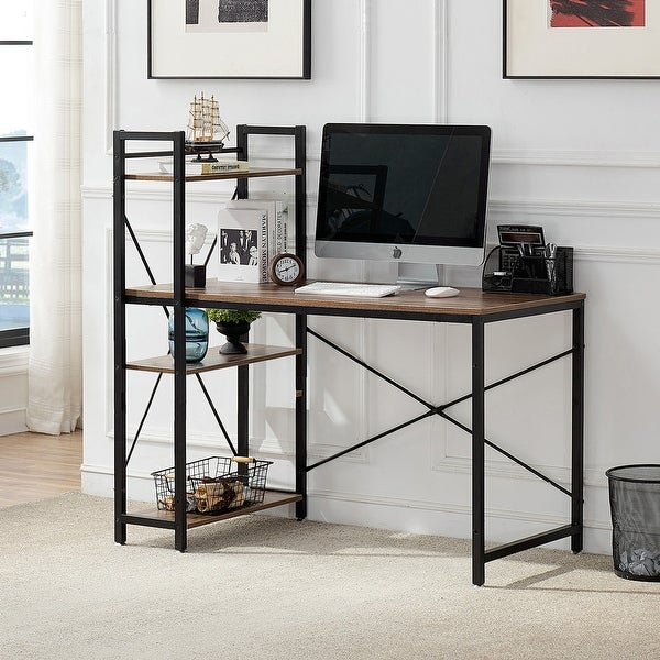 VECELO Computer Desk Home Office Wood and Metal Black. Opens flyout.