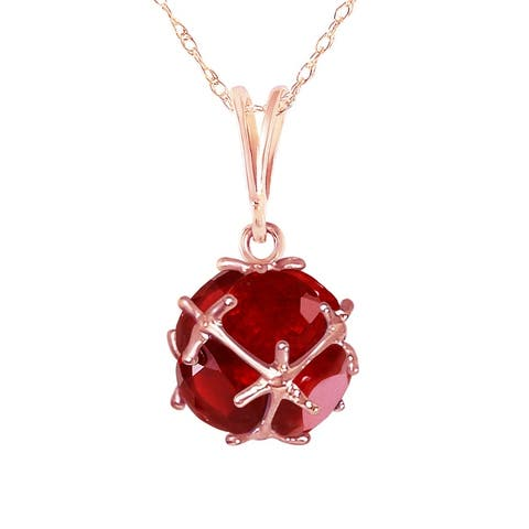 4.90 Carat 14K Solid Gold Ruby Gemstone Necklace Jewelry Royal