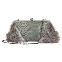 Aryana Yasi Gray Snake Print Leather Fur Clutch Womens Purse - One size