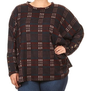 Women Plus Size Long Sleeve Relaxed Striped Pattern Knit Top Tee Blouse Navy