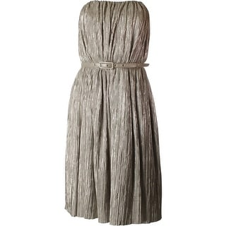 French Connection Womens Metallic Strapless Cocktail Dress