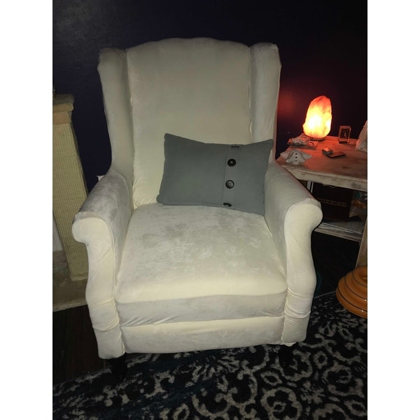 Magnificent Top Product Reviews For Sure Fit Stretch Plush Cream Wing Machost Co Dining Chair Design Ideas Machostcouk