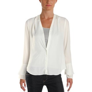 Calvin Klein Womens Petites Blouse Sheer Hi-Low