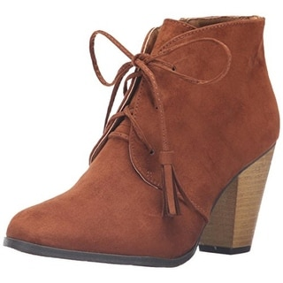 Qupid Womens Nixon 14 Ankle Boots Faux Suede Lace Up - 6.5 medium (b,m)