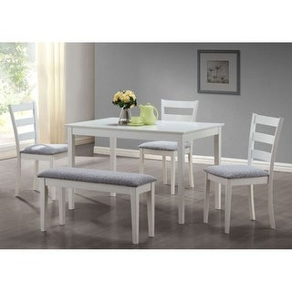 Link to Offex White 5 Pieces Dining Set with A Bench And 3 Side Chairs Similar Items in Kitchen & Dining Room Chairs
