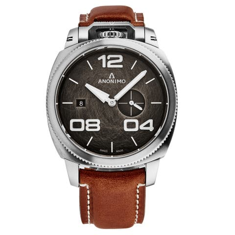 Anonimo Men's AM-1020.01.002.A02 'Military' Bronze Dial Beige Leather Strap Chronograph Automatic Watch
