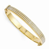 Italian Sterling Silver Gold-plated Glimmer Infused Hinged Bangle