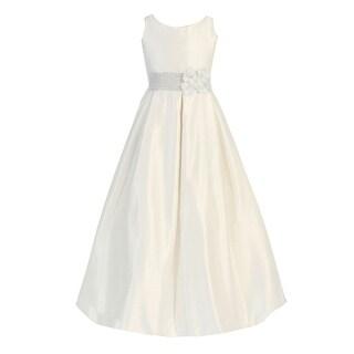 Calla Collection Girls Ivory A-Line Ribbon Back Communion Dress 8-16