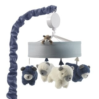 Lambs & Ivy Signature Montana Blue/White Bears Woodland Theme Musical Baby Crib Mobile