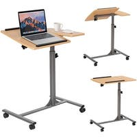 Costway 1PC Adjustable Laptop Notebook Desk Table Stand Holder Swivel Home Office Wheel - Grey