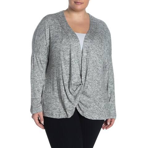 Bobeau Women's Twisted Draped Gray Size 2X Plus Knit Tunic Sweater