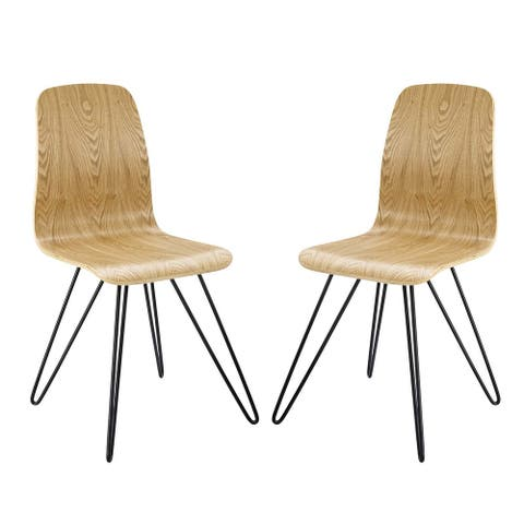 Drift Bentwood Dining Side Chairs with Hairpin Legs (Set of 2)