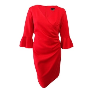 Betsy & Adam Women's Plus Size Bell-Sleeve Scuba Wrap Dress - Red