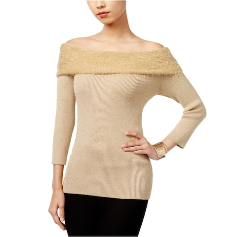 NY Collection Womens Knit Pullover Sweater, Beige, Large